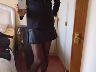 Katie Savira crossdressing in a schoolie outfit