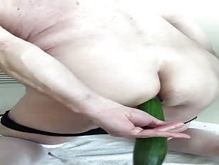Sissy Cucumber in Her Ass