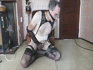 Horny CD in Stockings Jerking Like Mad
