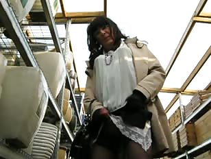 Crossdresser cums in storage