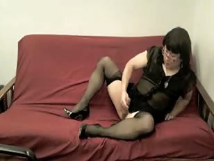 CD in black lingerie has new toy