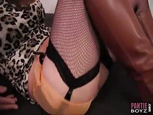 crossdesser slowly wanks his big cock ready for femdoms teasing nylon footjob