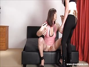 Cd whore wanks her big cock as hot femdom strapon jane fucks her tight ass