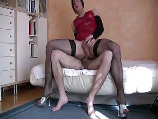 Horny CD Riding Cock