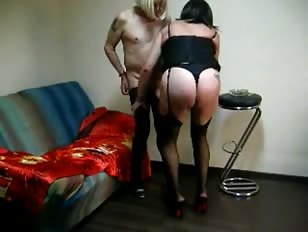 Older Crossdresser Takes Care of Slave Boy