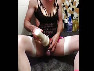 Sissy Plays with Flashlight and Ruins Orgasm