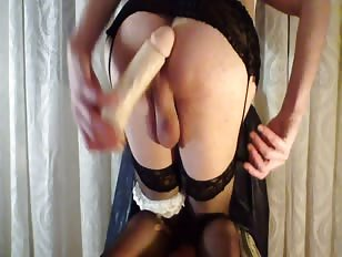 CD is Stockings Fucks Herself Doggystyle with Dildo