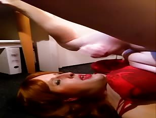Redhead Crossdresser Shows Self Facial Skills