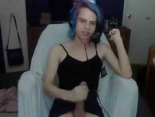 Cute Blue Hair Femboy Jerks on Private Cam